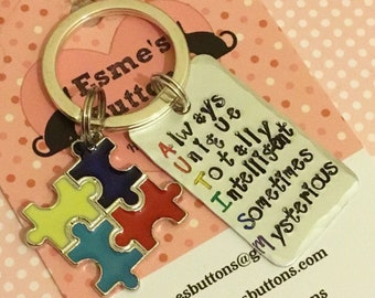 Autism gift, Autism Keyring, Autism Keychain, Handstamped, Hand Stamped, Jigsaw Charm, UK seller, gift for him, gift for her,