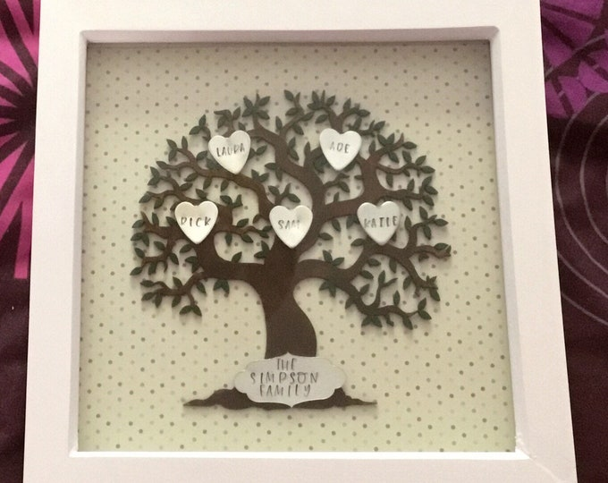 Personalised wooden Family Tree box frame, stamped metal hearts, personalised family tree, home decor, wall decor, family gift