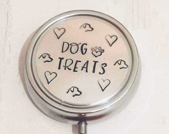 Personalised dog treat tin, gift for dog walking, dog training treats, pocket sized tin, dog treats,