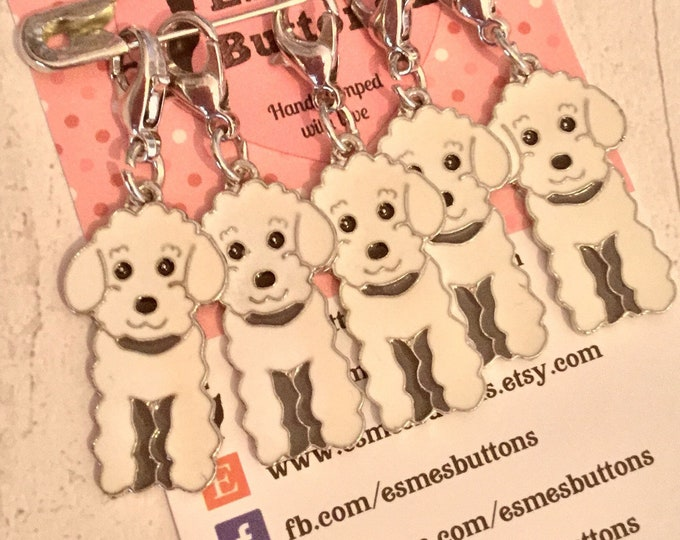 Poodle dog stitch markers, black white or apricot poodle, poodle crocheters, stitch markers, gift for a knitter, gift for a crocheter