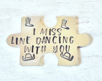 Virtual hug token,I miss line dancing with you, lockdown, Hand Stamped, friends apart, separated couples, line dance buddies, I miss you,