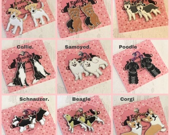 Enamel Dog earrings, niobium earwires, Jack Russell, collie, schnauzer , samoyed, corgi, husky, beagle, yorkie, poodle,