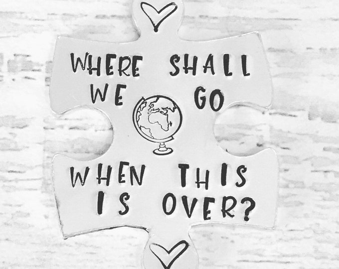 Featured listing image: Travel hug token, where shall we go when this is over, lockdown, Hand Stamped, friends apart, separated couples, I miss you,