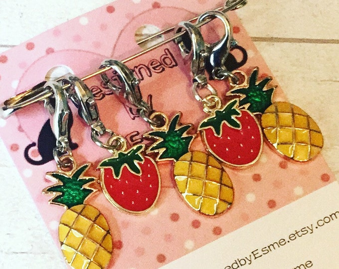 Fruit salad stitch markers, pineapples, strawberries, knitters, stitch markers, progress keepers, crochet, knitting,