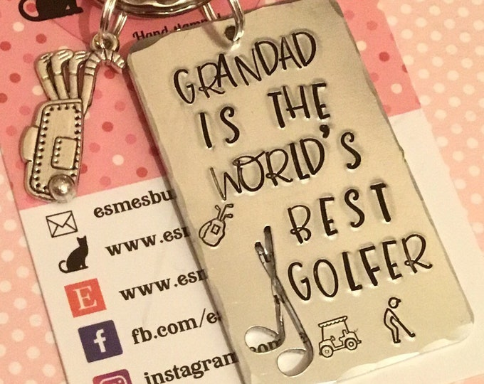 Golf gift, best golfer in the world, golfer gift, gift for grandad, Hand Stamped, Key Chain, Gift for her, Gift for him, uk seller,