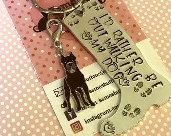 Cane corso dog keyring, dog walking keyring, cane corso gift, cane corse keyring, walking my dog, wellie boot keyring, Hand Stamped Key Ring