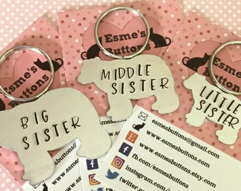 Sisters gift, family gift, Big Sister, Middle Sister, Little Sister, Hand stamped gift, family gift