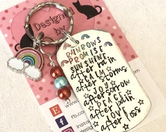 Rainbow keyring, hand stamped affirmation gift, gift for her, gift for him, a rainbow promises, uk seller,