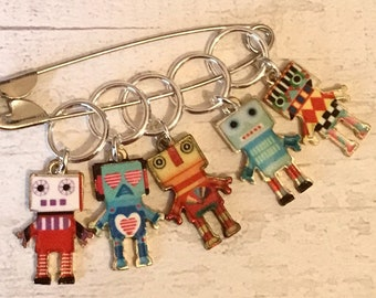 Robot stitchmarkers, robot gift, robot stitch markers, progress markers, gift for a knitter, gift for a crocheter,