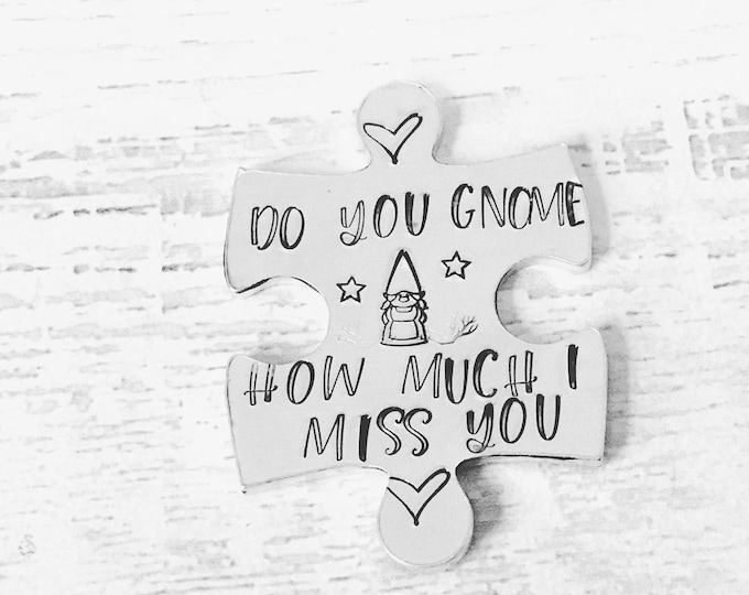 Virtual Gnome hug token,do you Gnome how much I miss you, lockdown, Hand Stamped, friends apart, separated couples, I miss you,