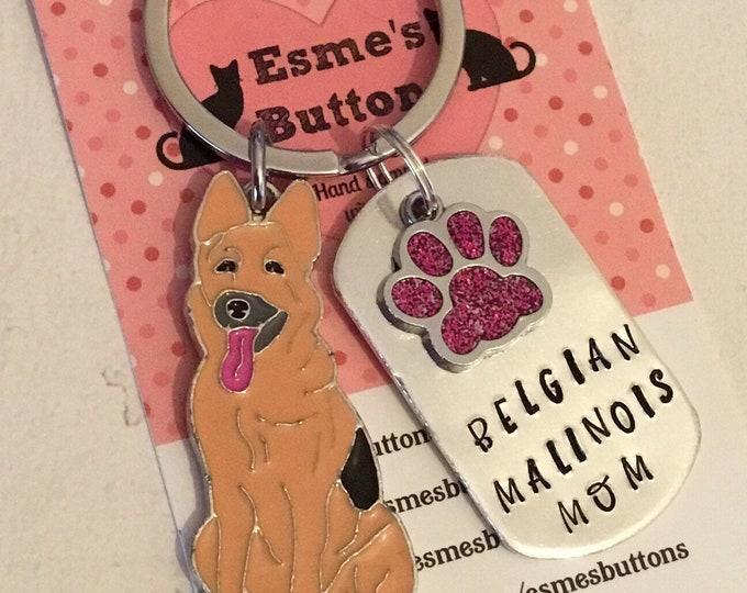 Belgian Malinois Dad dog keyring, Belgian Malinois Mum keychain, Belgian Malinois keyring, handstamped keyring, Fathers Day gift,