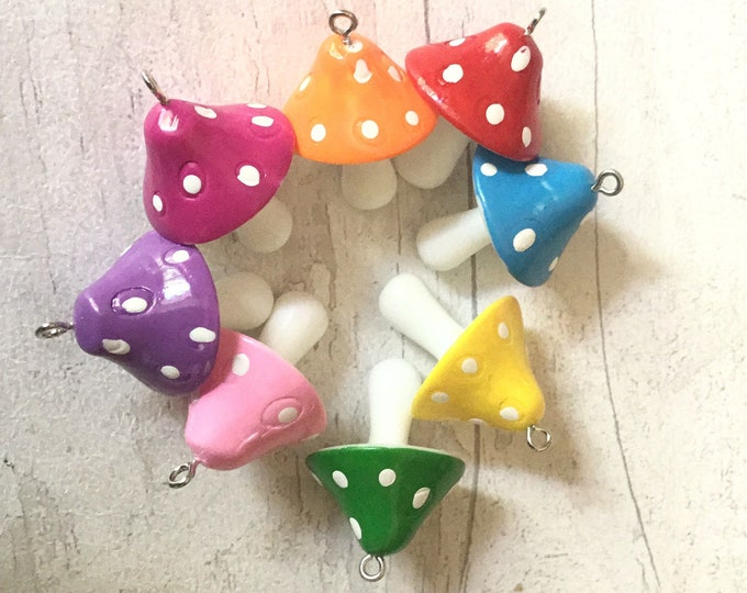 Toadstool stitch markers, toadstools, for a knitter, for a crocheter, gnomes and toadstools, progress keepers,