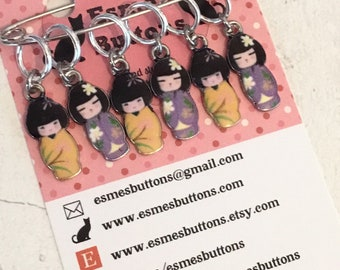 Kokeshi stitchmarkers, Japanese doll gift, kokeshi stitch markers, progress markers, gift for a knitter, gift for a crocheter,