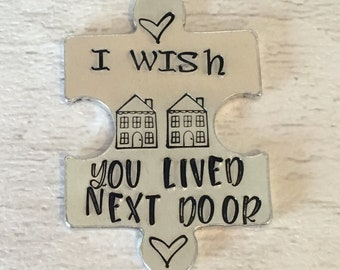 Virtual hug token,I wish you lived next door, lockdown, Hand Stamped, friends apart, separated couples,