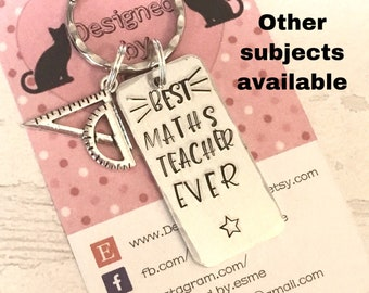 Maths Teacher appreciation keyring, best maths teacher gift,End of year gift, Hand stamped,Thank you gift, Gift for Her, Gift for him,