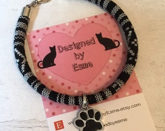 Cat or dog Paw print bracelet, cotton cord Bracelet, gift for her, gift for him, uk seller, Boho bracelet, Hippy bracelet, cat paw prints,