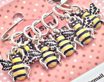 Bee stitch markers, bees, knitters stitch markers,Stitch markers, gift for a knitter, knitting gift,