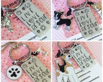 Rescue dog Key Ring,  Live Love Rescue, handstamped keyring, dog lover gift, gift for him, gift for her,