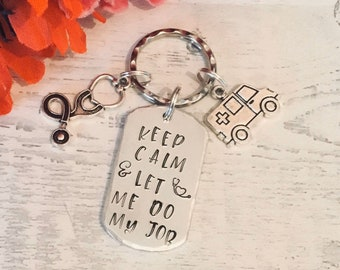 Paramedic key ring, medical gift, ambulance driver gift, keep calm, vet gift, Hand Stamped, gift for a vet, emergency services,