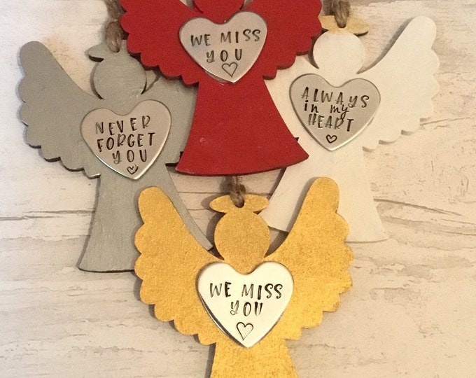Rustic wooden Angel, Memorial Angel, Christmas tree ornaments, personalised gift, handstamped Christmas tree decoration,