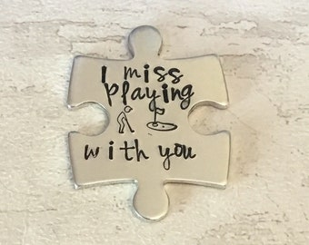 Virtual hug token,I miss playing golf with you, lockdown, Hand Stamped, friends apart, separated couples, golf buddies, I miss you,