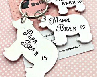 Papa Bear keyring gift, Daddy Bear, fathers day gift for daddy, Hand Stamped gift, Gift for Dad, family gift