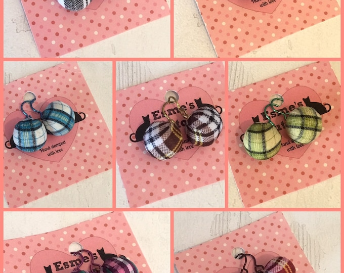 Tartan fabric bead earrings with niobium earwires, Scottish tartan earrings, fabric earrings, niobium earwires, gift for her, Mother's  Day