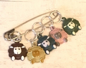 Sheep stitch markers, sheep stitchmarkers, progress markers, sheep gift, gift for a knitter, gift for a crocheter,