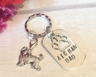 Afghan Hound Dad dog keyring, Fathers day gift, afghan mum, Hand Stamped Key chain, Gift for her, Gift for him, gift for an afghan hound