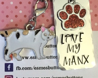 Manx cat keychain, cat gift, Cat lover gift, cat Dad  cat Mum, Hand Stamped, Key Chain, Gift for her, Gift for him, uk seller,