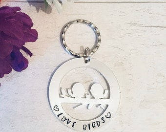 Valentines Love birds gift, couples gift, husband gift, wife gift, boyfriend gift, girlfriend gift, hand stamped, for her,for him
