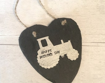Slate heart, tractor for Dad, Father's  Day, gift for a farmer, gift for Dad, wall hanging, gift for him