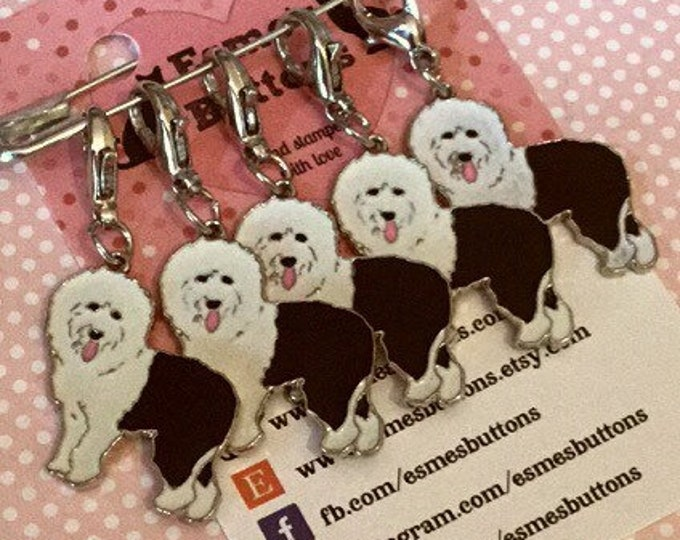 Old English Sheepdog dog stitch markers, OES knitters, OES gift, OES crocheters, stitch markers, gift for a knitter crocheter