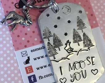 I moose you, moose you keyring, i miss you, moose gift, faraway friends, separated friends, miss you, missing a friend,