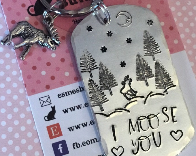 Lockdown gift, I moose you, moose you keyring, i miss you, moose gift, faraway friends, separated friends,missing a friend,