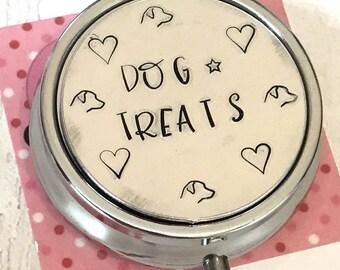 Personalised dog treat tin, gift for dog walking, dog training treats, pocket sized tin, dog treats,