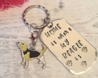 Home is where my Beagle dog is, Beagle dog gift, Beagle keyring, Hand Stamped, Key Chain, Dog Lover, Beagle dog gift, for her, for him