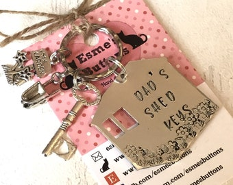 Father's Day gift, Shed keys personalised, Hand Stamped ,gardening gift,gift for him, gift for her, uk seller, personalised,