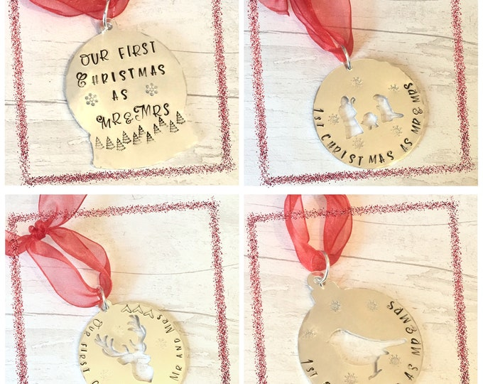 First Christmas as Mr and Mrs, Christmas tree gift, personalised gift, handstamped tree decoration, snow globe ornament,