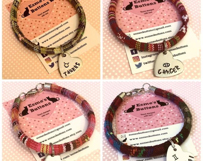 Zodiac bracelet, Tribal Bracelet, woven cotton bracelet, gift for her, gift for him, uk seller, Boho bracelet, Hippy bracelet, zodiac gift