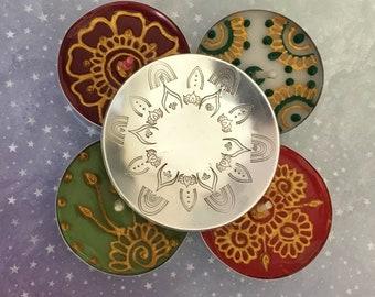 Diwali tea light holder, Diwali gift,mandala ring dish, customised, hand stamped jewellery dish,