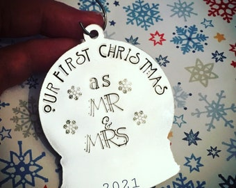 Our First Christmas……as Mr & Mrs, an engaged couple, a forever family,  in our own home, Christmas tree gift, snow globe,