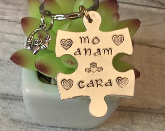 Celtic Valentine Gift, anam cara, claddagh,interlocking Keyrings, couple gift keyring, Hand stamped, Gift for Her, Gift for him,