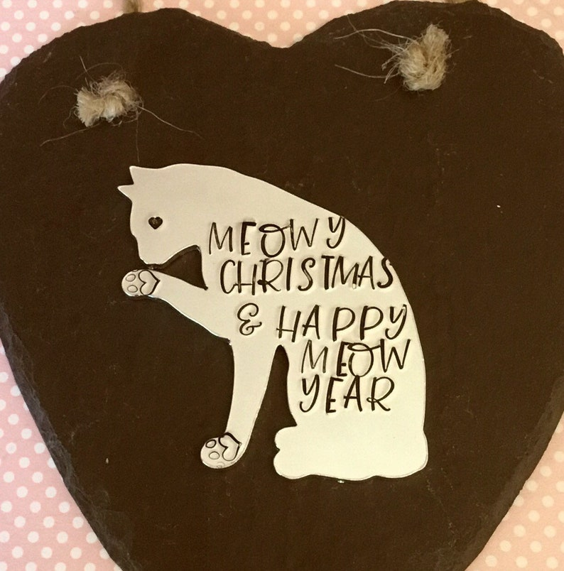 Cat Slate heart Christmas gift Cat personalised gift image 0