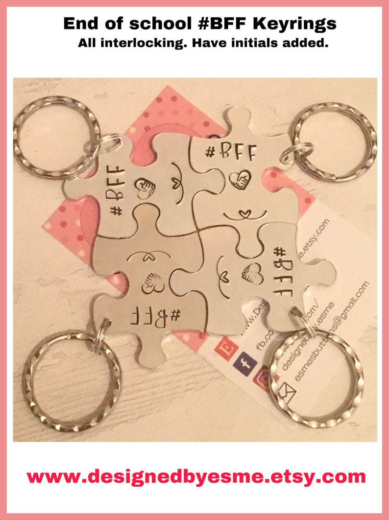 BFF interlocking puzzle pieces keyrings gift for parting image 0