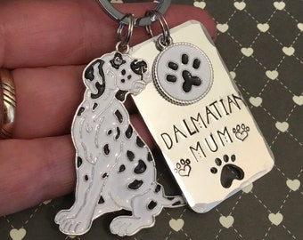 Dalmatian dad dog KeyRing, fathers day gift, hand stamped Dalmatian mum gift, schnauzer gift,  dog lover gift, gift for him, gift for her,