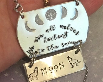 Wolves howling at the moon, Hand Stamped necklace,