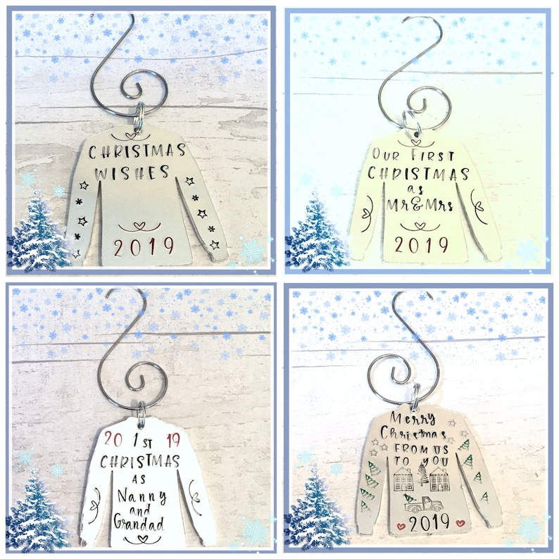 Hand stamped Christmas tree jumper ornament personalised image 0