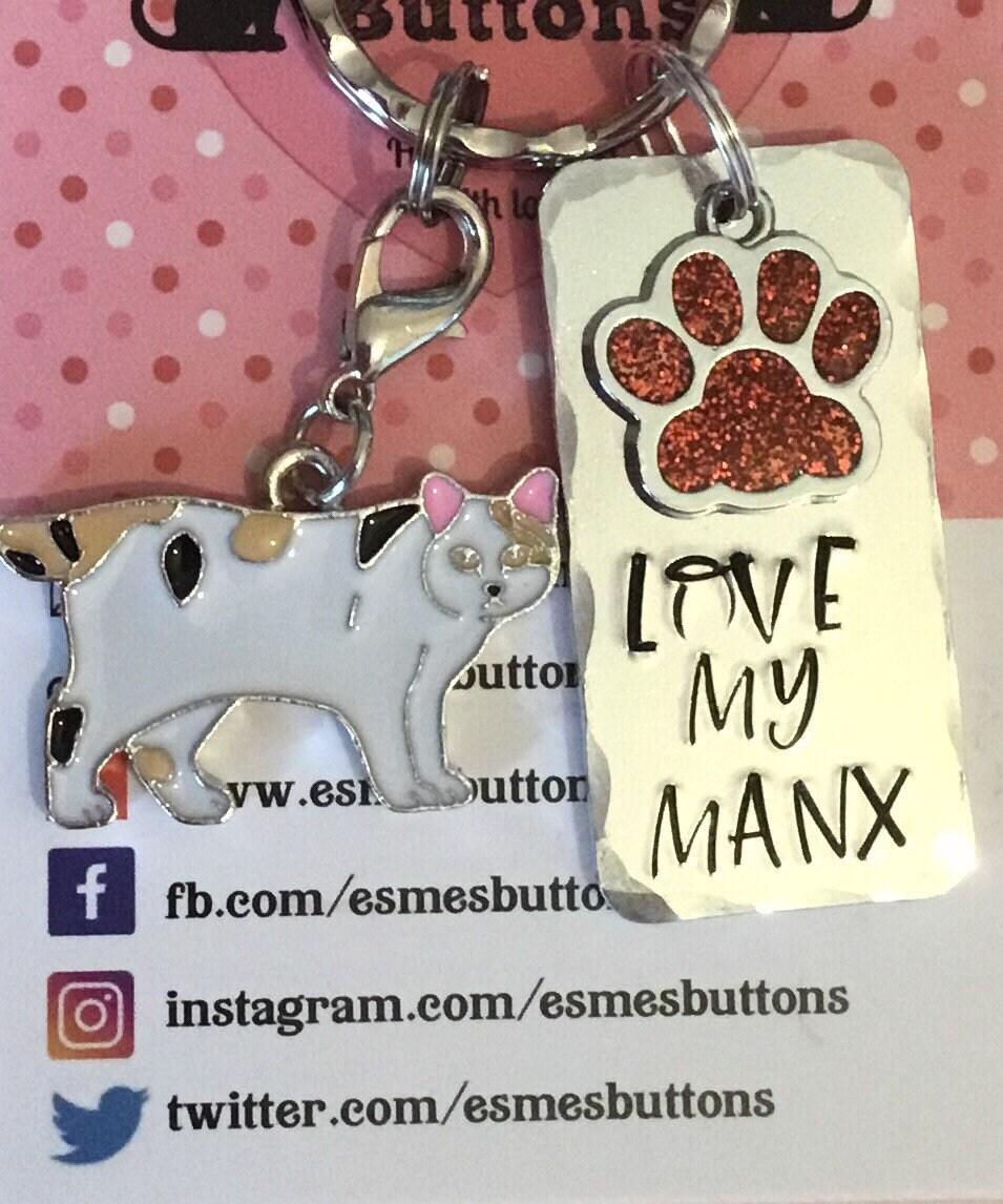 Manx cat keychain, cat gift, Cat lover gift, cat Dad cat Mum