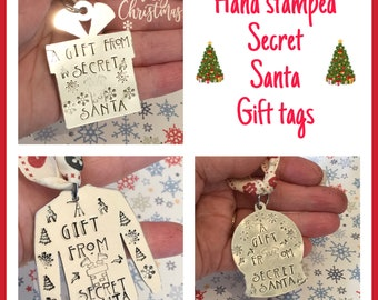 Secret Santa gift tags, hand stamped tags, Christmas tree gift,